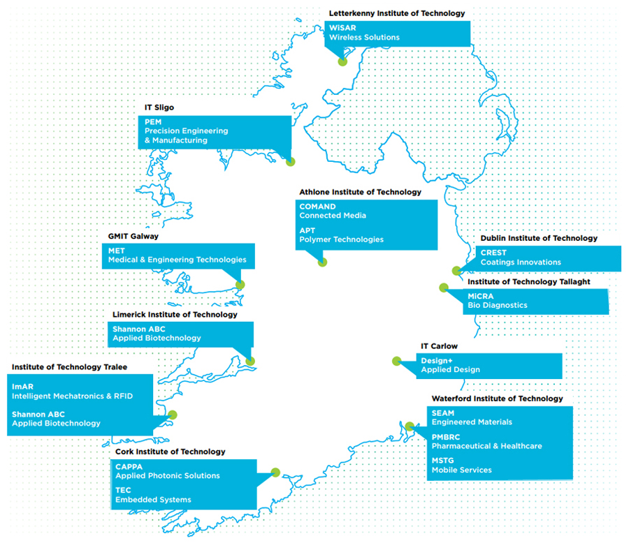Locations-Ireland-Technology-Gateway-map